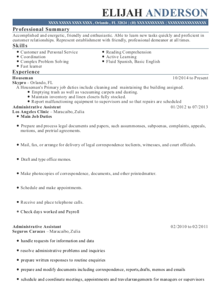 Houseman resume format Florida