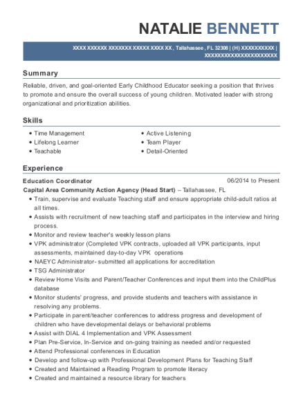 Education Coordinator resume format Florida
