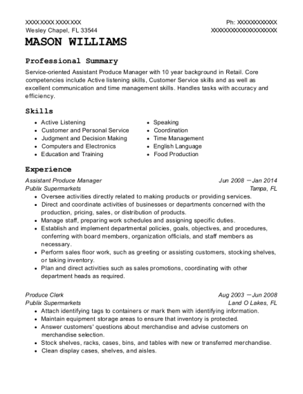 Assistant Produce Manager resume template Florida