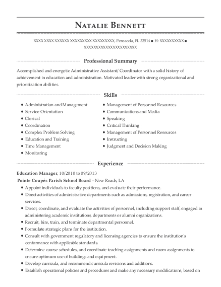 Education Manager resume example Florida