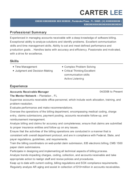 Accounts Receivable Manager resume template Florida