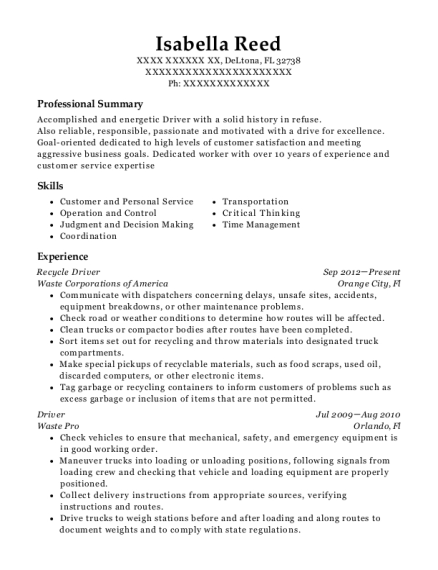 Recycle Driver resume example Florida