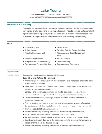 Concession and Box Office Sales Staff Member resume format Florida