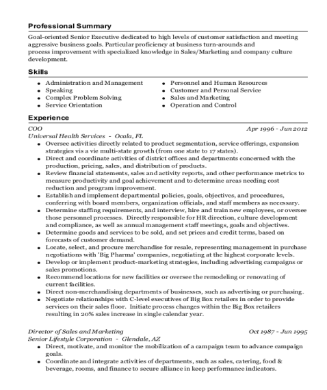 COO resume example Florida