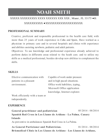 General practitioner and pediatrician resume template Florida