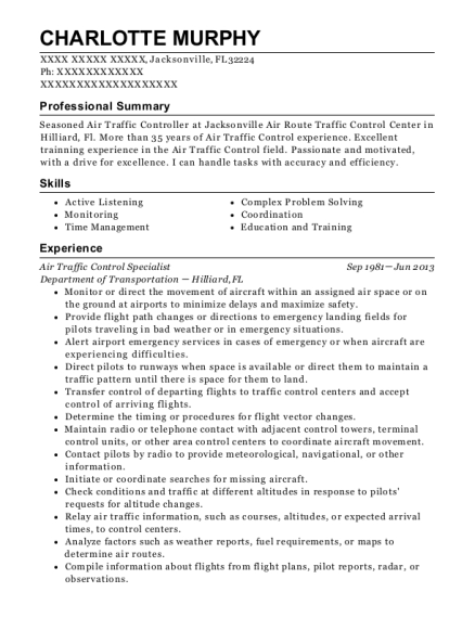 Air traffic controller resume semiconductor engineering technician resume
