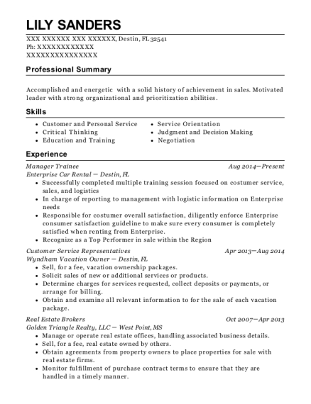Manager Trainee resume template Florida