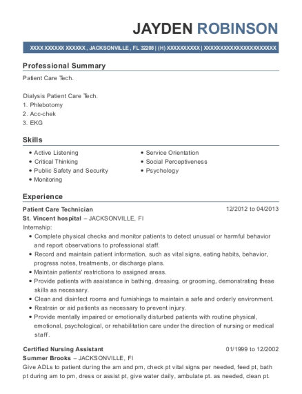 Patient Care Technician resume template Florida