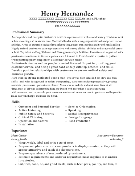 Meat Cutter resume template Florida