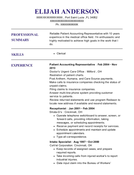 Patient Accounting Representative resume example Florida
