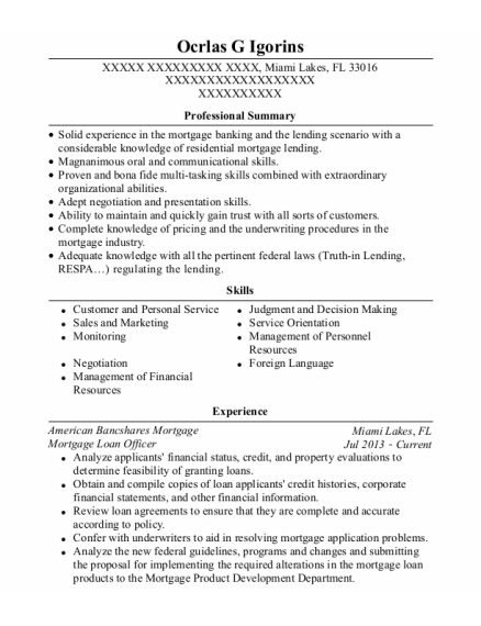 Mortgage Loan Officer resume template Florida