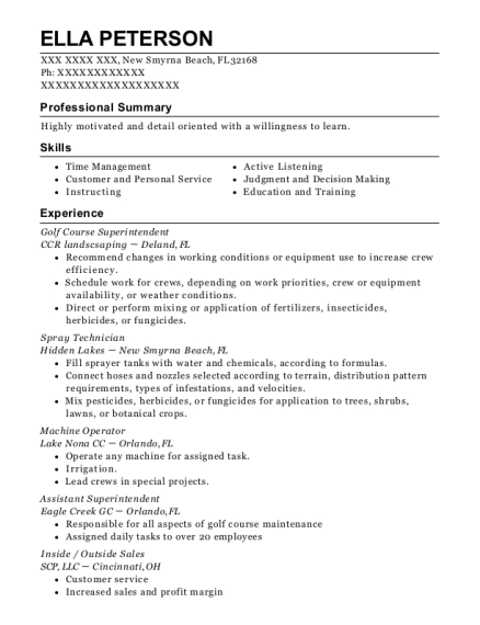 Golf Course Superintendent resume example Florida