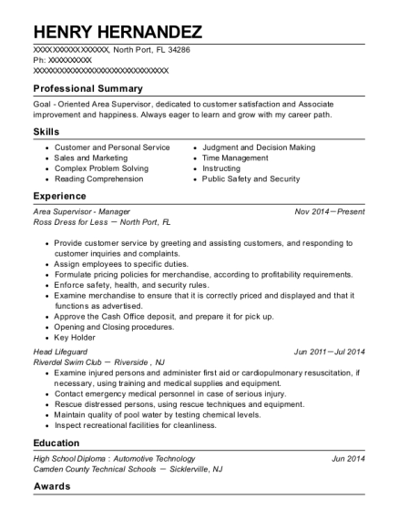 Area Supervisor Manager resume example Florida