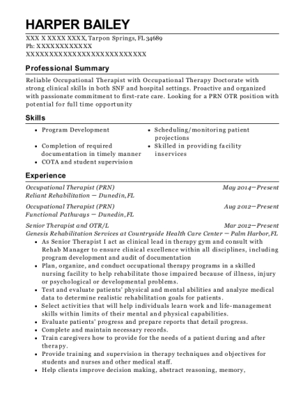 Occupational Therapist resume sample Florida