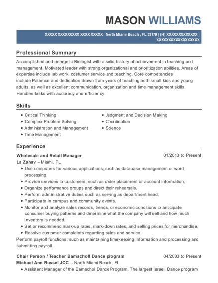 Wholesale and Retail Manager resume sample Florida
