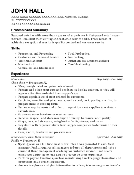 Meat Cutter resume example Florida