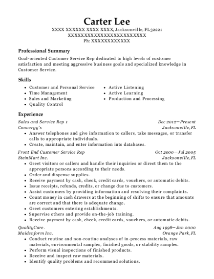Sales and Service Rep 1 resume format Florida