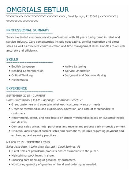 Sales Professional resume example Florida