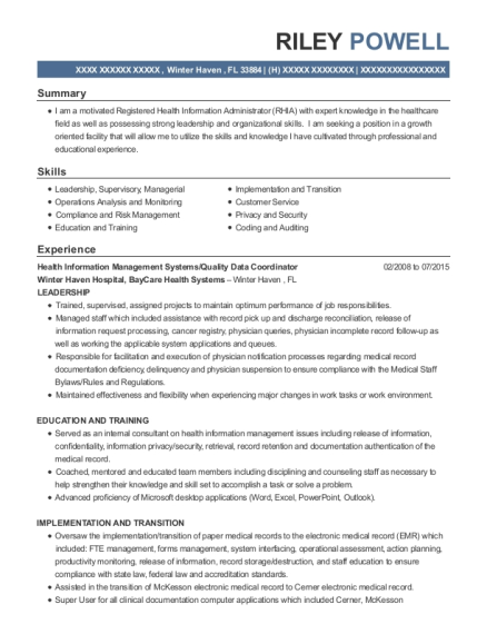 Health Information Management Systems resume template Florida