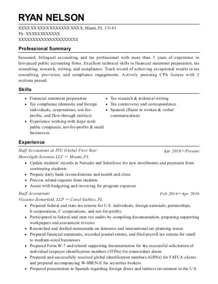 Staff Accountant at FIU Global First Year resume format Florida
