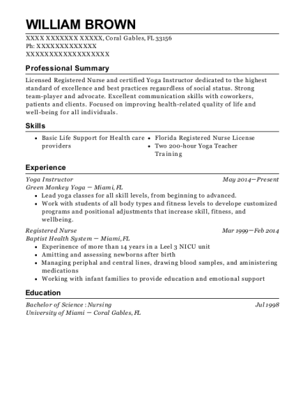 Yoga Instructor resume format Florida