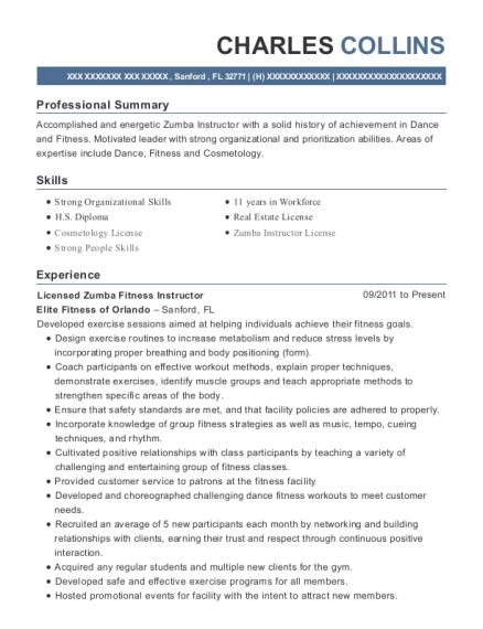Licensed Zumba Fitness Instructor resume format Florida