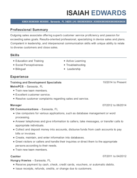 Training and Development Specialists resume sample Florida