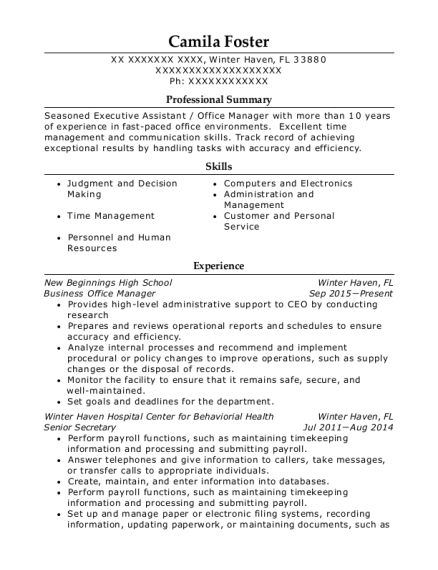 Business Office Manager resume template Florida