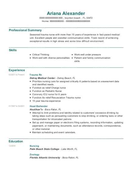 delray medical center trauma rn resume sample