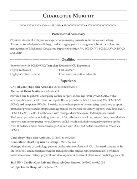 Critical Care Physician Assistant resume format Florida