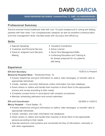 ER Unit Secretary resume sample Florida