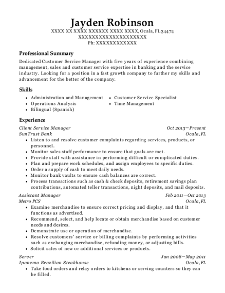 Client Service Manager resume template Florida