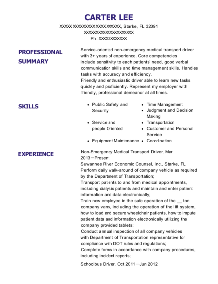 Non Emergency Medical Transport Driver resume example Florida
