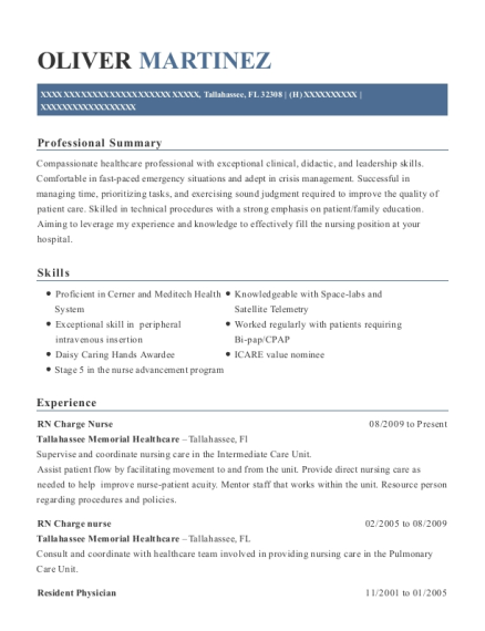 RN Charge Nurse resume template Florida