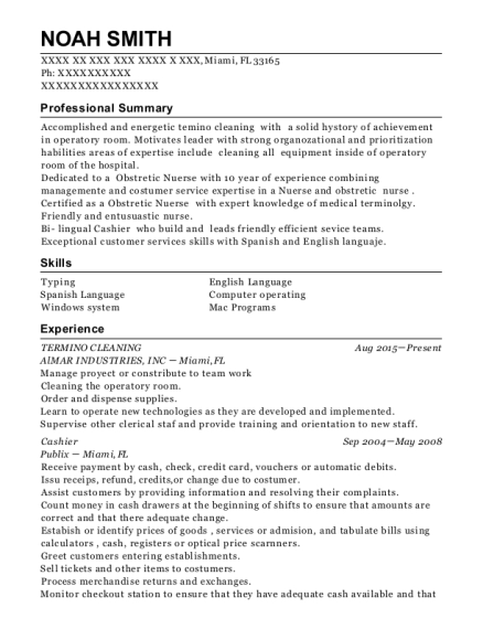 TERMINO CLEANING resume template Florida