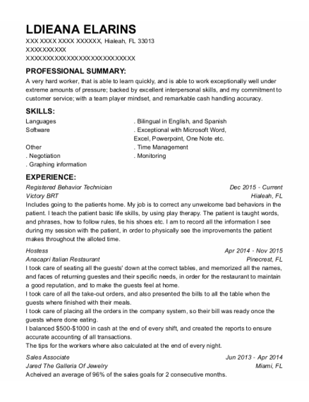 inspire aba registered behavior technician resume sample