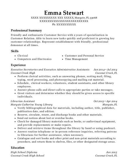 Executive Secretaries and Executive Administrative Assistants resume template Florida
