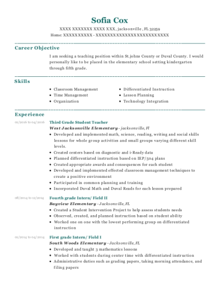 Third Grade Student Teacher resume sample Florida