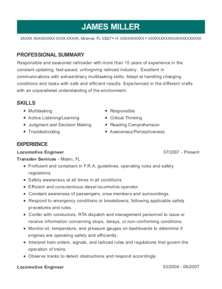 Locomotive Engineer resume format Florida