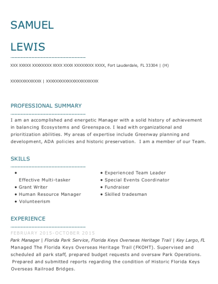 Park Manager resume template Florida