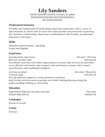 Housekeeping Supervisor resume sample Florida