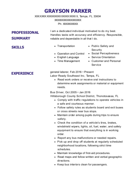general laborer resume sample Florida