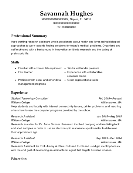 Student Technology Consultant resume example Florida