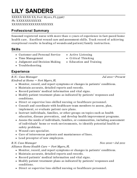 RN Case Manager resume sample Florida