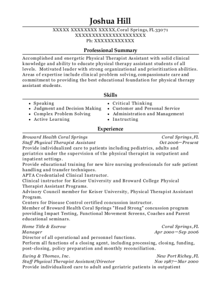 Staff Physical Therapist Assistant resume format Florida