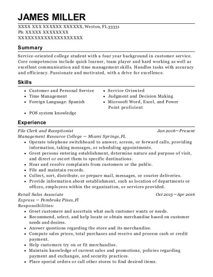 File Clerk and Receptionist resume template Florida
