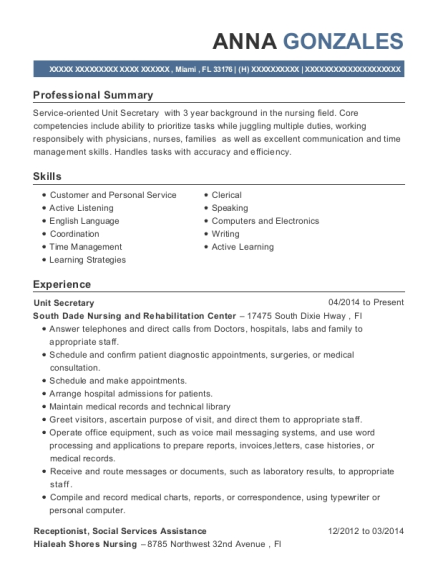 Unit Secretary resume template Florida
