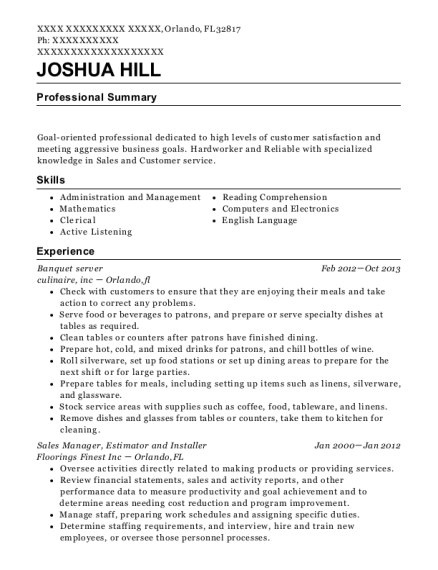 Banquet server resume example Florida