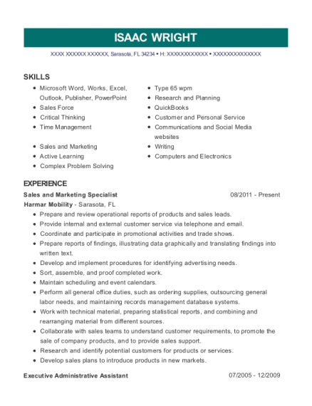 Sales and Marketing Specialist resume template Florida