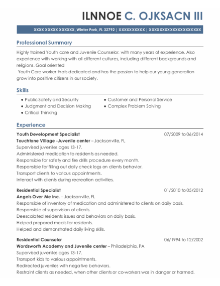 Youth Development Specialist resume template Florida